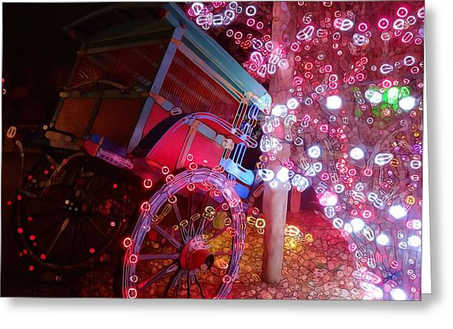 Christmas Abstract Greeting Cards - Christmas Wagon Decorations Greeting Card by Dan Sproul