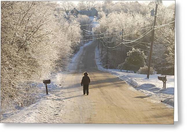 Recently Sold -  - Maine Farmhouse Greeting Cards - Christmas Walk in Maine Greeting Card by Alan Holbrook