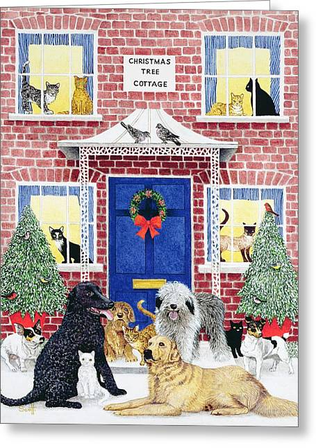 Dog Photographs Greeting Cards - Christmas Warmth Oil On Canvas Greeting Card by Pat Scott