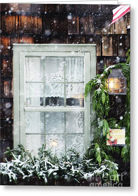 Ventana Greeting Cards - Christmas Window in Snow Greeting Card by AdSpice Studios