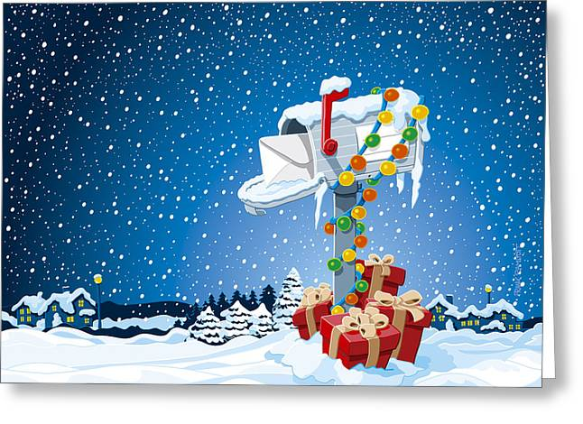 Christmas Winter Landscape Mailbox Gift Boxes Greeting Card by Frank Ramspott