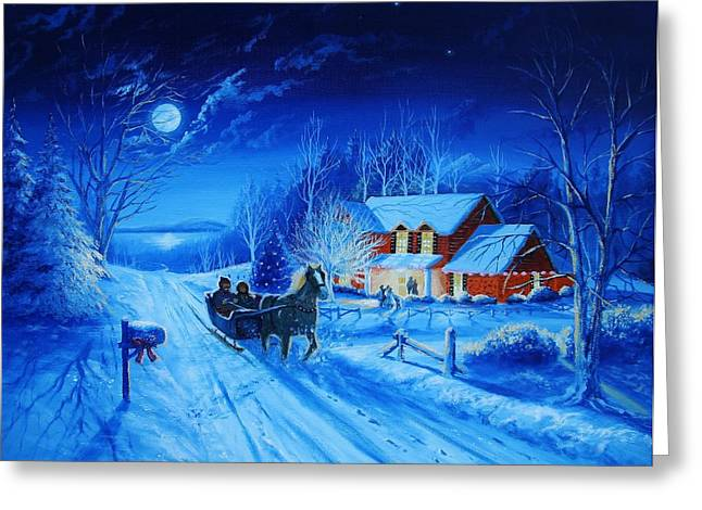 Sled.fence Greeting Cards - Christmas Winter Sleigh  Ride Greeting Card by Tom Hoy