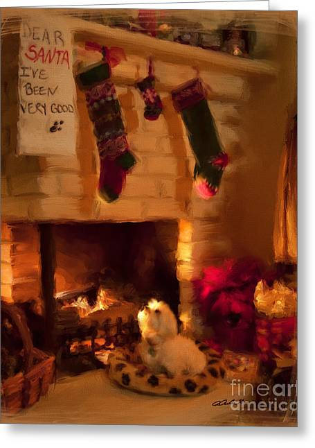 Best Sellers -  - Puppies Mixed Media Greeting Cards - Maltese Christmas Wish Greeting Card by Andrea Auletta