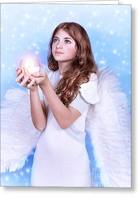Archangel Greeting Cards - Christmas wish of an angel Greeting Card by Anna Omelchenko