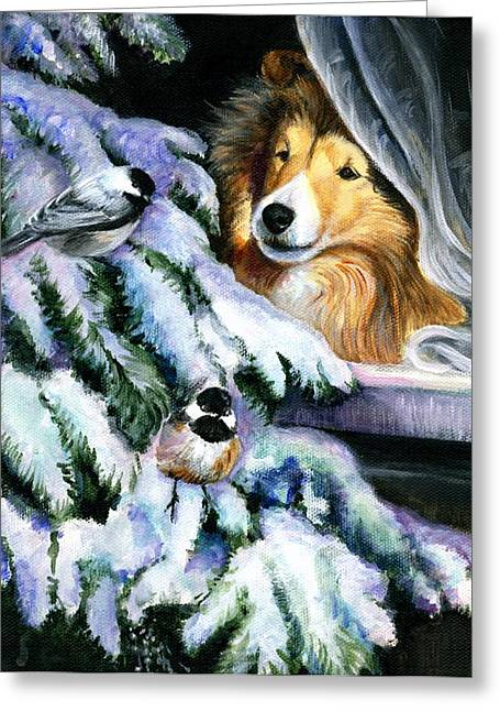 Sheepdog Greeting Cards - Christmas Wonder Greeting Card by Jeanne  McNally