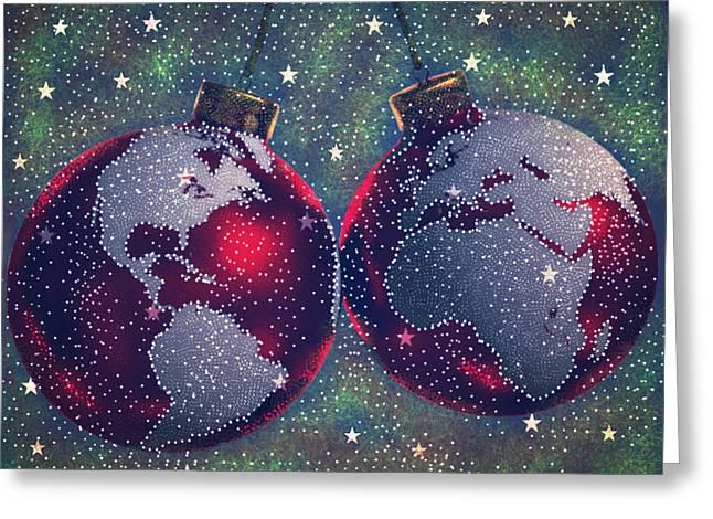 Christmas Eve Greeting Cards - Seasons Joy Greeting Card by Karunita Kapoor