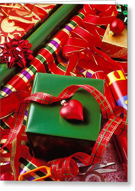 Scissors Greeting Cards - Christmas wrap with heart ornament Greeting Card by Garry Gay
