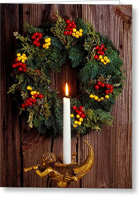 Candle Holder Greeting Cards - Christmas wreath and angel with candle Greeting Card by Garry Gay
