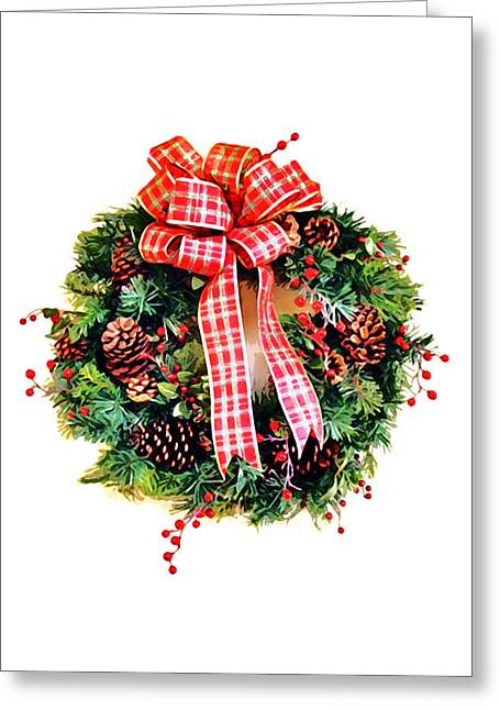 Christmas Blocks Greeting Cards - Christmas Wreath Greeting Card by Art Block Collections