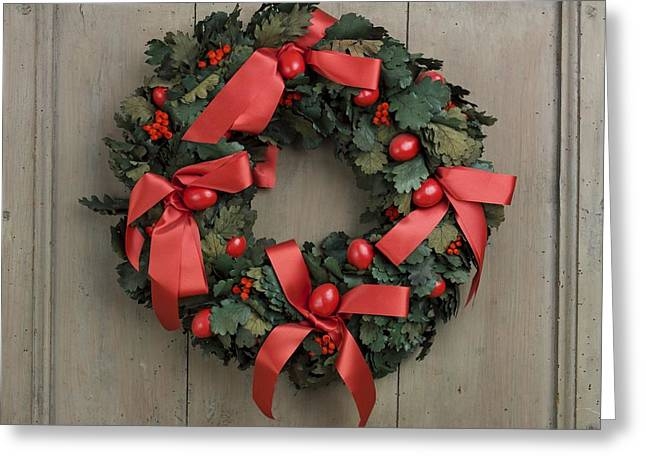 Christmas wreath Greeting Card by BERNARD JAUBERT