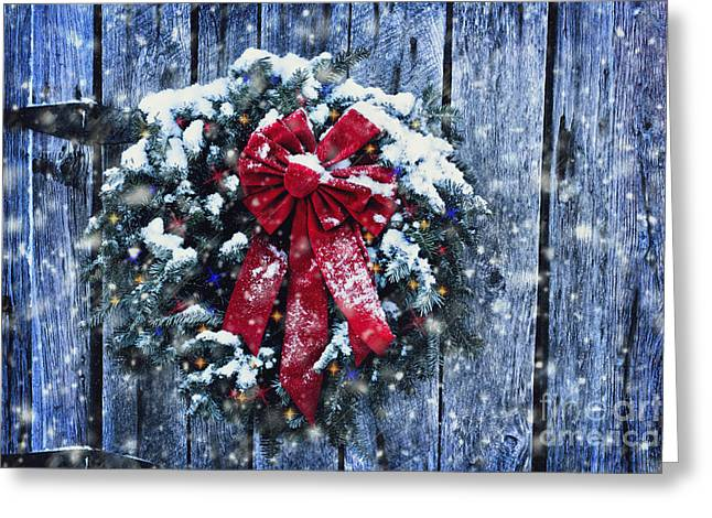 Snowy Night Night Greeting Cards - Christmas Wreath in Snow Storm Greeting Card by Stephanie Frey