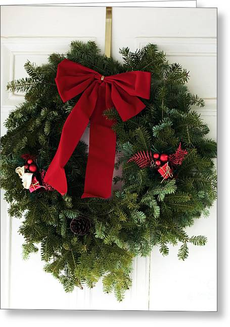 Red School House Greeting Cards - Christmas Wreath Greeting Card by John Rizzuto
