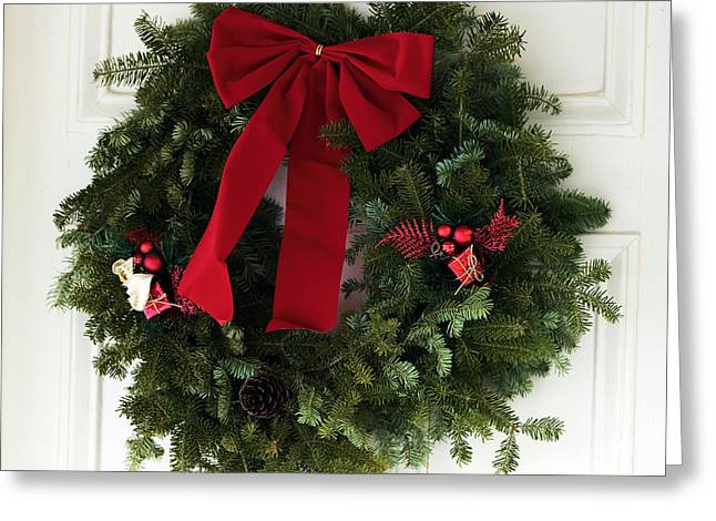East Jersey Olde Towne Village Greeting Cards - Christmas Wreath Greeting Card by John Rizzuto