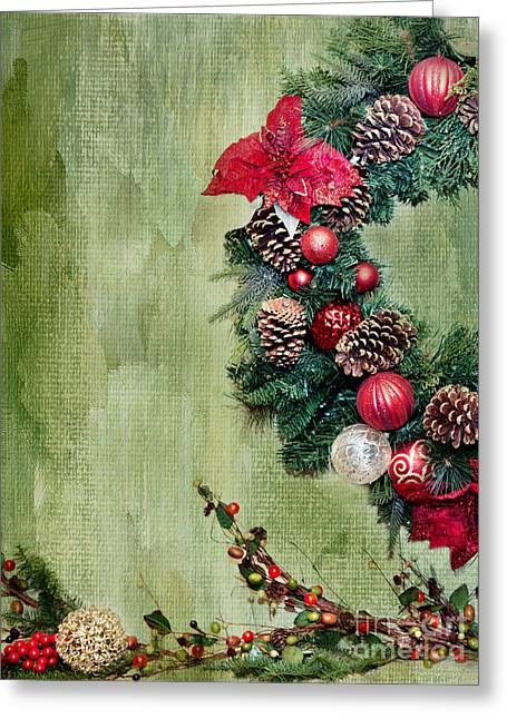 Pine Cones Greeting Cards - Christmas Wreath Greeting Card by Rebecca Cozart