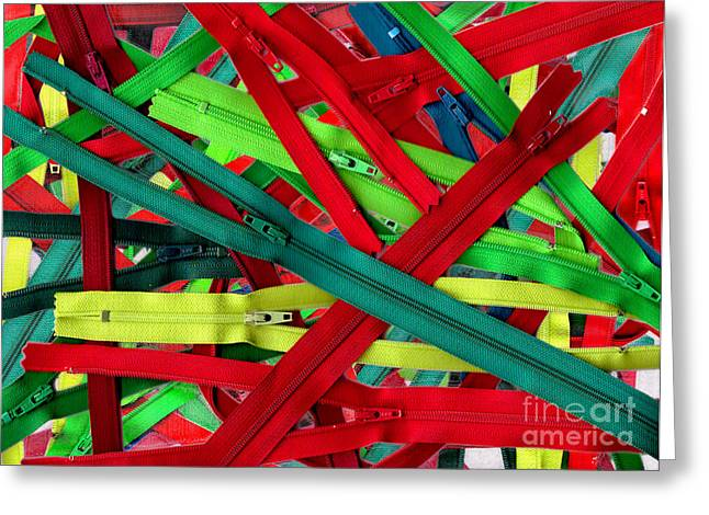 Zipper Greeting Cards - Christmas Zippers Greeting Card by Nancy Mueller