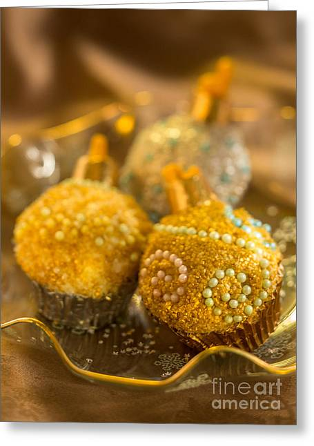 Owner Greeting Cards - Christmasball Cupcakes in Golds Greeting Card by Iris Richardson