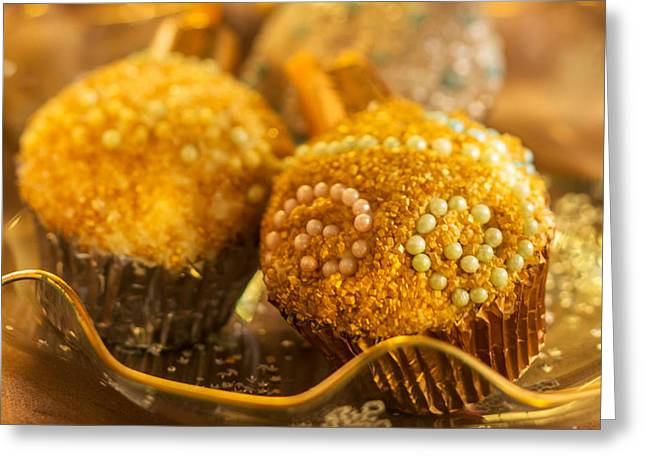 Commercial Photography Greeting Cards - Christmasball Cupcakes in Golds Square Greeting Card by Iris Richardson