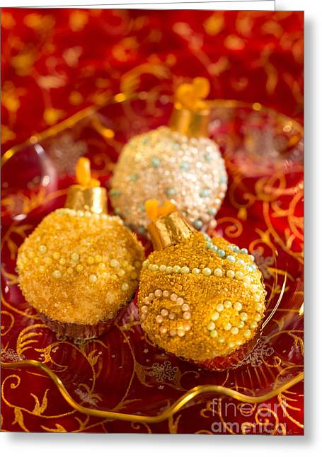Christmasball Cupcakes In Red Greeting Card by Iris Richardson