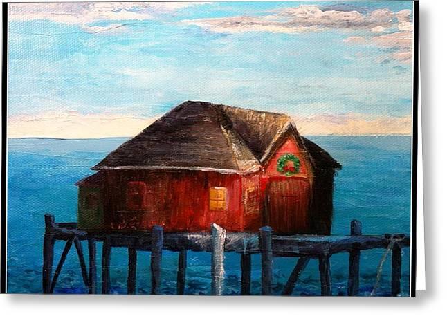 Lobster Shack Paintings Greeting Cards - Christmasea Greeting Card by Deborah Naves