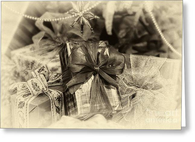 Fineartprint Greeting Cards - Christmasgift under The Tree in Sepia Greeting Card by Iris Richardson