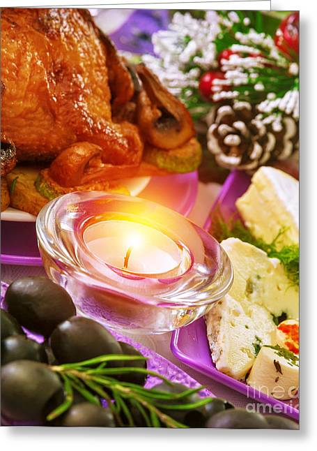 Banquet Greeting Cards - Christmastime banquet Greeting Card by Anna Omelchenko
