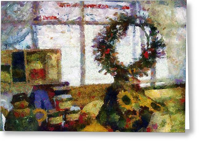 Best Sellers -  - Toy Shop Greeting Cards - Christmastime Folk Art Fantasia Greeting Card by RC DeWinter