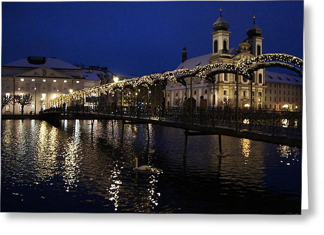 Best Sellers -  - Print Ceramics Greeting Cards - Christmastime in Lucerne Greeting Card by Liz Naepflin