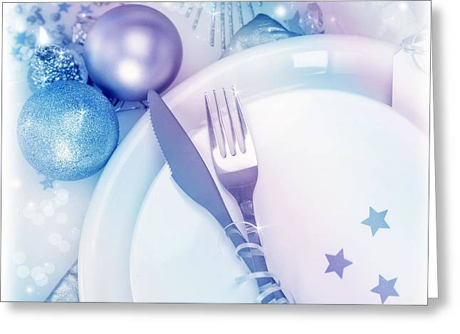 Banquet Greeting Cards - Christmastime silverware Greeting Card by Anna Omelchenko