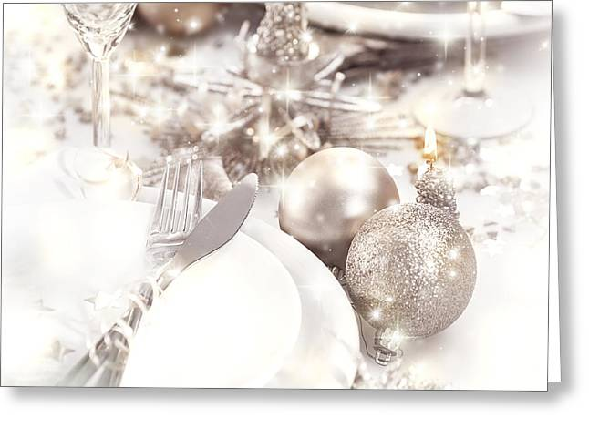 Champagne Glasses Greeting Cards - Christmastime table setting Greeting Card by Anna Omelchenko