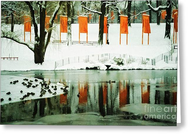 Installation Art Greeting Cards - Christo - The Gates - Project for Central Park reflection in wat Greeting Card by Nishanth Gopinathan