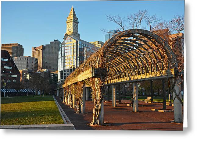 Christopher Columbus Park Trellis Boston Ma Greeting Card by Toby McGuire