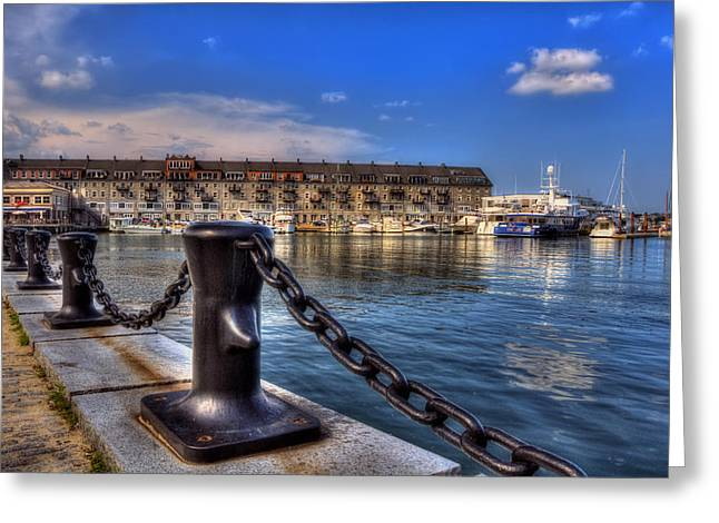 Duchess Greeting Cards - Christopher Columbus Park Waterfront Greeting Card by Joann Vitali