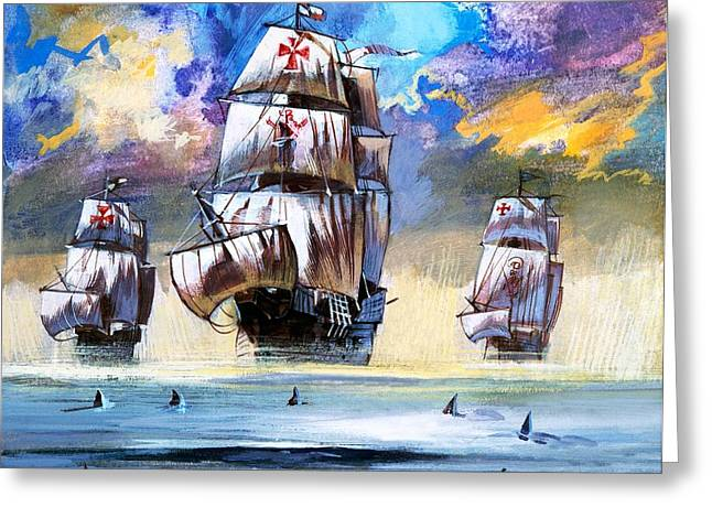 Doomed Greeting Cards - Christopher Columbuss fleet  Greeting Card by English School