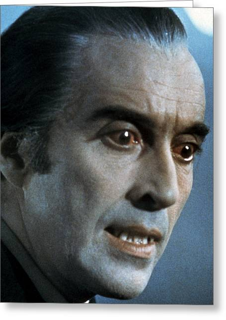 Scar Greeting Cards - Christopher Lee in Scars of Dracula  Greeting Card by Silver Screen