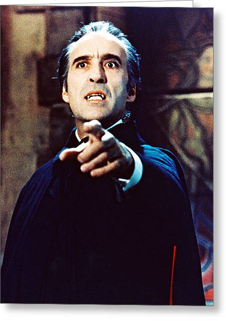 Dracula Greeting Cards - Christopher Lee in Taste the Blood of Dracula  Greeting Card by Silver Screen