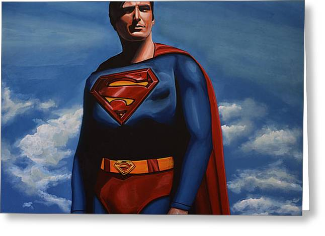 Planet Paintings Greeting Cards - Christopher Reeve as Superman Greeting Card by Paul  Meijering