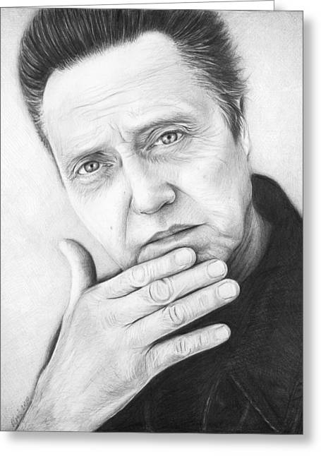 Black And White Drawing Greeting Cards - Christopher Walken Greeting Card by Olga Shvartsur
