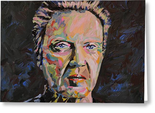 Will Ferrell Greeting Cards - Christopher Walken Portrait Greeting Card by Robert Yaeger