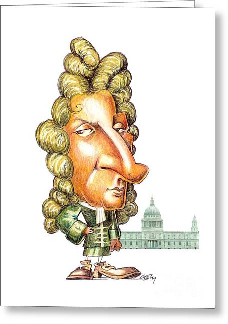 Church Founder Greeting Cards - Christopher Wren, English Architect Greeting Card by Gary Brown