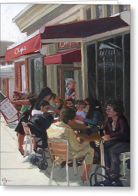 Waitress Greeting Cards - Christophers Restaurant Greeting Card by Jamie Pogue