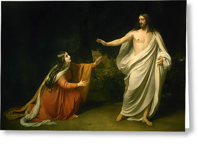 Religious Artwork Paintings Greeting Cards - Christs Appearance to Mary Magdalene after the Resurrection  Greeting Card by Alexander Ivanov