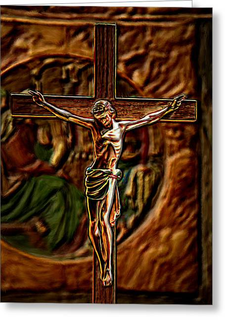 True Cross Paintings Greeting Cards - Christs Crucifixion  Greeting Card by Bruce Nutting