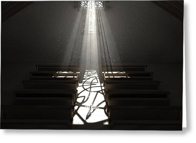 Radiates Greeting Cards - Christs Light In The Dark Greeting Card by Allan Swart