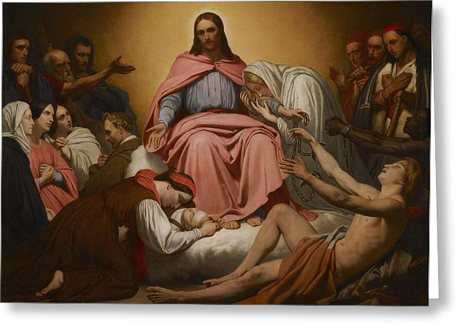Charity Paintings Greeting Cards - Christus Consolator Greeting Card by Ary Scheffer