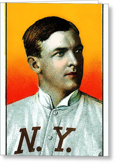 Baseball Art Photographs Greeting Cards - Christy Mathewson New York Giants Baseball Card 0100 Greeting Card by Wingsdomain Art and Photography
