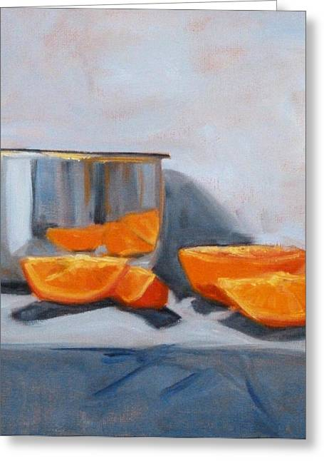 White Cloth Greeting Cards - Chrome and Oranges Greeting Card by Nancy Merkle
