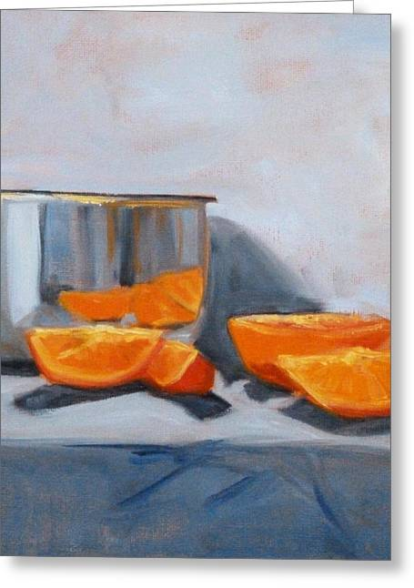 Chrome Paintings Greeting Cards - Chrome and Oranges Greeting Card by Nancy Merkle