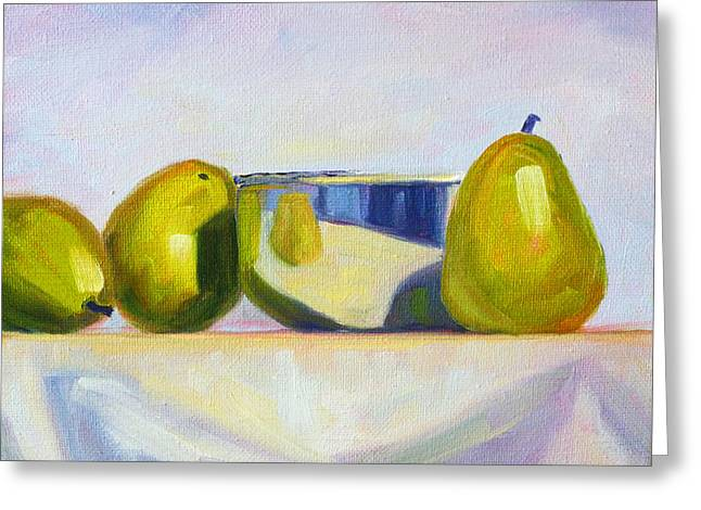 Chrome And Pears Greeting Card by Nancy Merkle