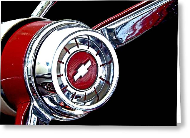 Rockabilly Digital Art Greeting Cards - Chrome and Red Chevy Wheel Greeting Card by Kristie  Bonnewell