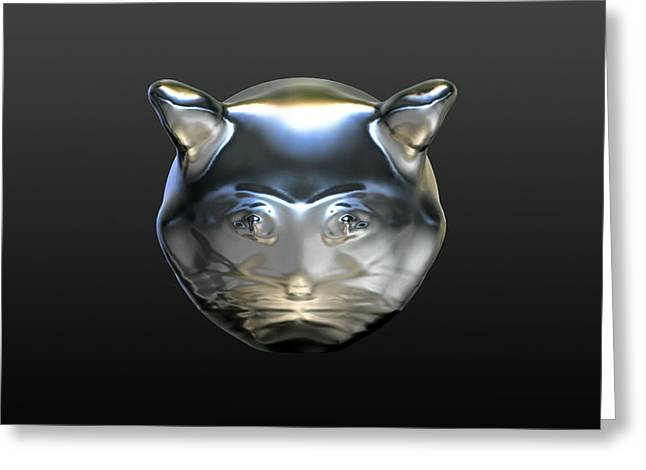 Stacy Bottoms Greeting Cards - Chrome Cat Greeting Card by Stacy C Bottoms